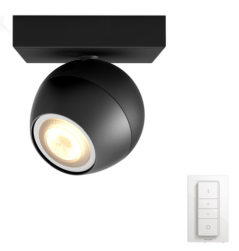 Philips Hue Buckram Mounted Spot White Ambiance 1 Light Black + Dimmer Bluetooth Main Image