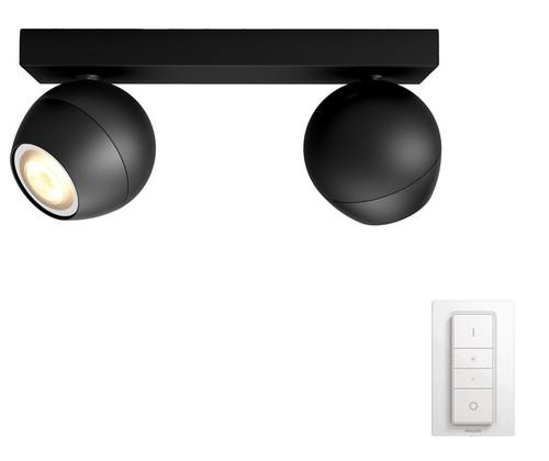 Philips Hue Buckram Mounted Spot White Ambiance 2 Lights Black Bluetooth Main Image