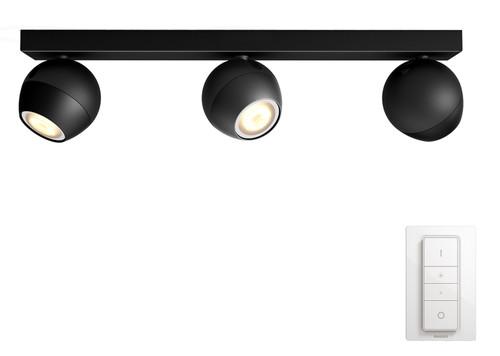 Philips Hue Buckram Mounted Spot White Ambiance 3 Lights Black Bluetooth Main Image