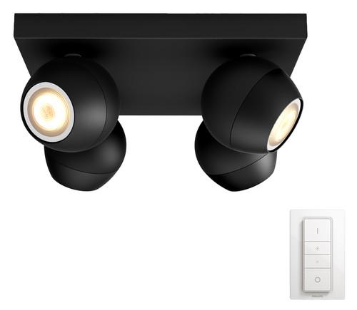 Philips Hue Buckram Mounted Spot White Ambiance 4 Lights Black Bluetooth Main Image