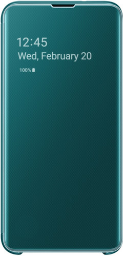 Samsung Galaxy S10 Clear View Cover Book Case Green Main Image