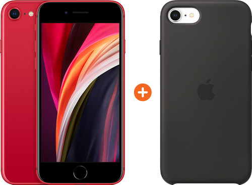 Apple iPhone SE 2 256 GB RED + Apple iPhone SE Silicone Back Cover Zwart Main Image