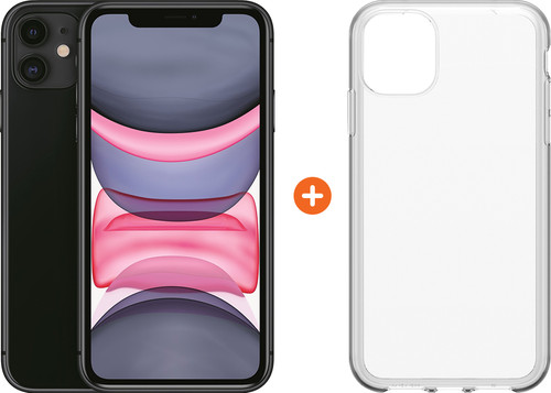 Apple iPhone 11 64 GB Zwart + Otterbox Clearly Protected Skin Alpha Glass Main Image