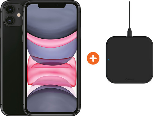 Apple iPhone 11 128 GB Zwart + ZENS Slim Line Draadloze Oplader Main Image