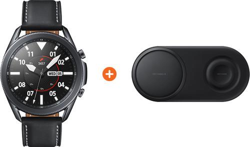Samsung Galaxy Watch3 Zwart 45 mm + Samsung Draadloze Oplader DUO Pad Zwart Main Image