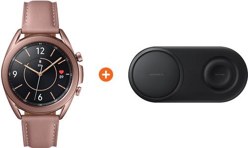 Samsung Galaxy Watch3 Goud 41 mm + Samsung Draadloze Oplader DUO Pad Zwart Main Image