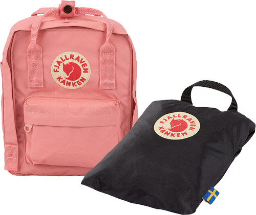 Fjällräven Kånken Mini Pink 7L + Rain Cover Mini Black - Children's Backpack Main Image