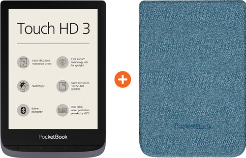 Pocketbook Touch HD 3 Grijs + Pocketbook Shell Touch HD 3 Blauw Main Image