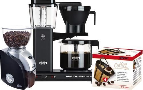 Moccamaster KBG Select Mat Zwart + Koffiemolen + Scanpart Permanent Filter Main Image