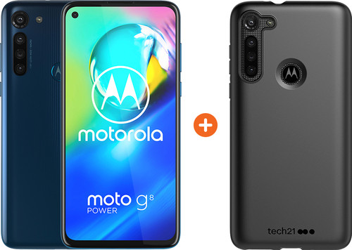 Motorola Moto G8 Power 64GB Blauw + Tech21 Studio Colour Back Cover Zwart Main Image