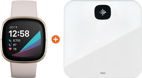 Fitbit Sense Lunar White/Soft Gold + Fitbit Aria Air White Main Image