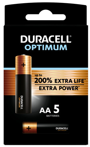 Duracell Alka Optimum AA batteries 5 units Main Image