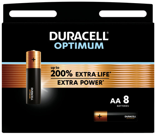 Duracell Alka Optimum AA batteries 8 units Main Image