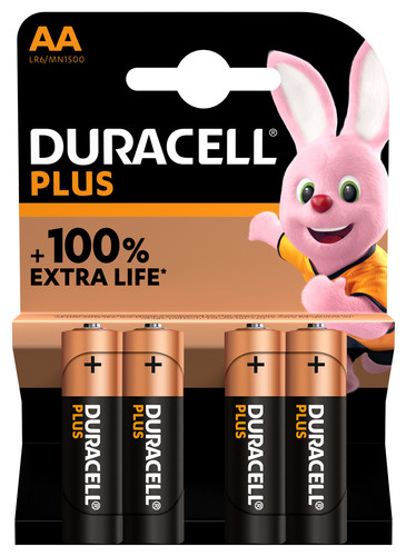 Duracell Alka Plus AA batteries 4 units Main Image