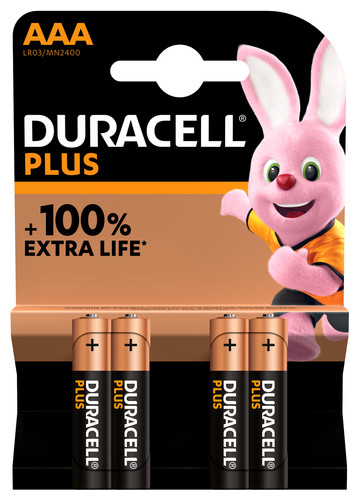Duracell Alka Plus AAA batteries 4 units Main Image