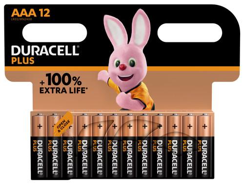 Duracell Alka Plus AAA batteries 12 units Main Image