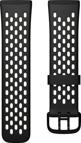 Fitbit Versa 3/Sense Silicone Strap Black/Lunar White S Main Image