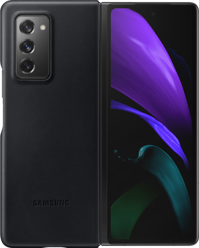 Samsung Galaxy Z Fold2 Back Cover Leer Zwart Main Image