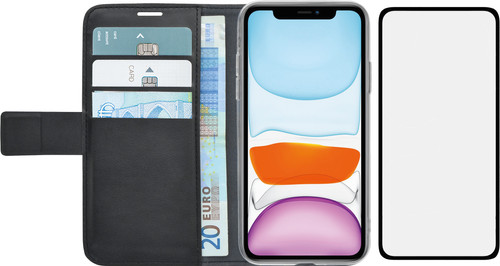 Azuri Wallet Apple iPhone 11 Book Case Zwart + Case Friendly Screenprotector Glas Main Image