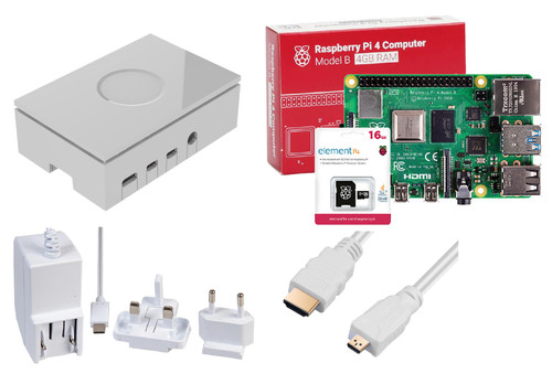 Raspberry Pi 4 Model B 4GB Starter Kit WHITE Main Image