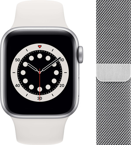 Apple Watch Series 6 40mm Silver Aluminum White Sport Band + Watch Strap Milanese Silver Main Image