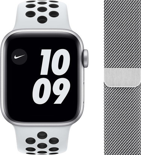 Apple Watch Nike Series 6 40mm Zilver Aluminium Witte Sportband + Polsband Milanees Zilver Main Image