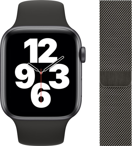 Apple Watch SE 44mm Space Gray Aluminium Zwarte Sportband + Polsband Milanees Grafiet Main Image