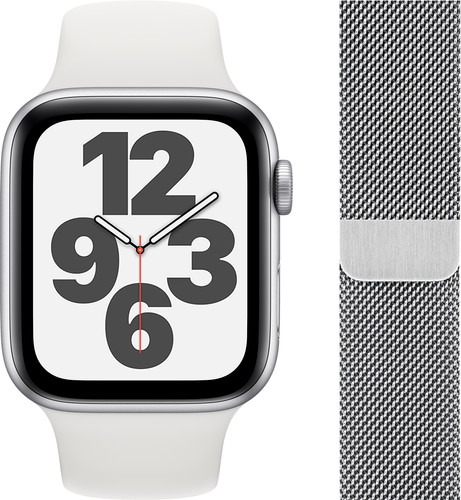 Apple Watch SE 44mm Silver Aluminum White Sport Band + Watch Strap Milanese Silver Main Image