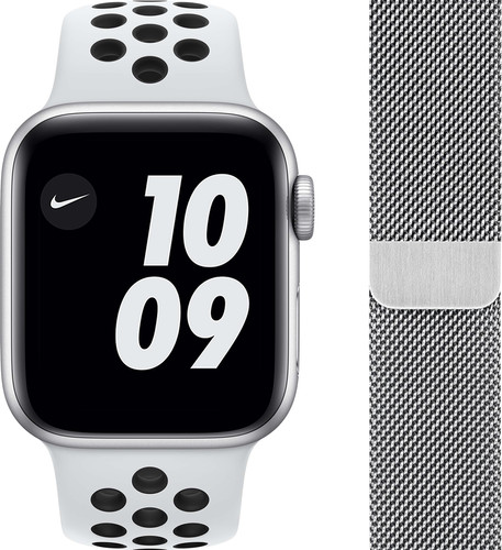 Apple Watch Nike SE 40mm Zilver Aluminium Witte Sportband + Polsband Milanees Zilver Main Image