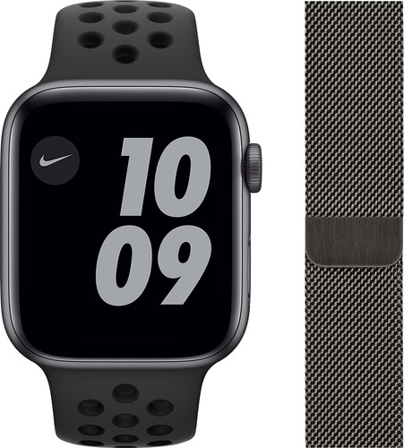 Apple Watch Nike SE 44mm Space Gray Aluminium Zwarte Sportband + Polsband Milanees Grafiet Main Image