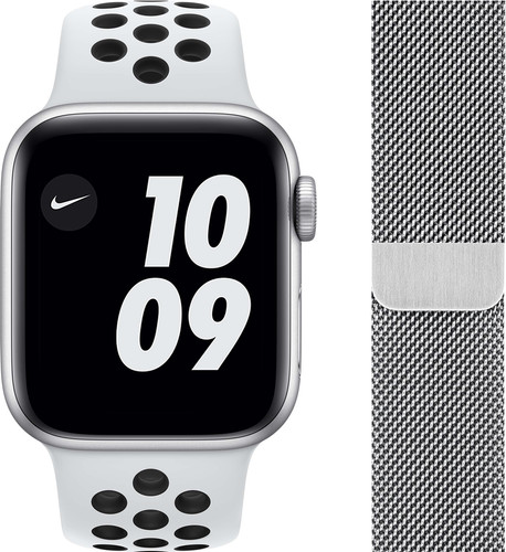 Apple Watch Nike SE 44mm Silver Aluminum White Sport Band + Watch Strap Milanese Silver Main Image