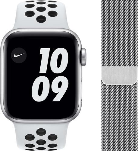 Apple Watch Nike SE 44mm Zilver Aluminium Witte Sportband + Polsband Milanees Zilver Main Image