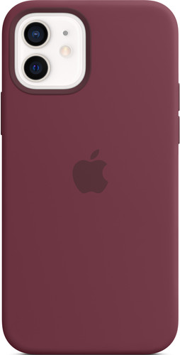 Apple iPhone 12 (Pro) Silicone Back Cover with MagSafe Plum Main Image
