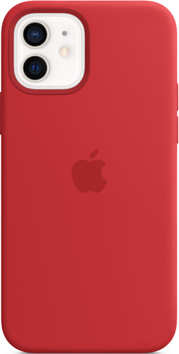Apple iPhone 12 (Pro) Silicone Back Cover with MagSafe RED Main Image