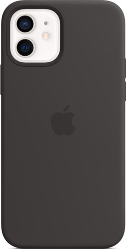 Apple iPhone 12 (Pro) Silicone Back Cover with MagSafe Black Main Image