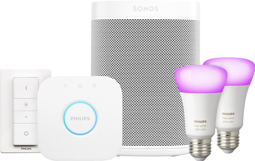 Sonos One Wit Philips Hue White & Color Starter Duo Pack Main Image