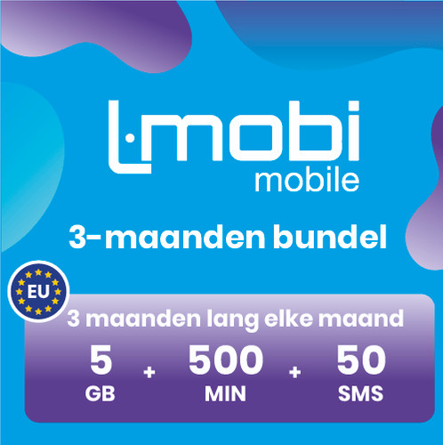 L-mobi simkaart met 3 maanden lang elke maand 5GB, 500 minuten & 50 smsjes Main Image