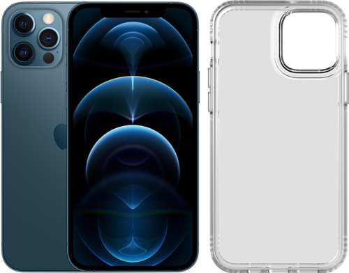 Apple iPhone 12 Pro 256GB Pacific Blue + Tech21 Evo Clear Back Cover Transparent Main Image