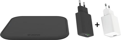 ZENS Draadloze Oplader 10W Zwart met adapter + Oplader 18W Power Delivery Wit Main Image