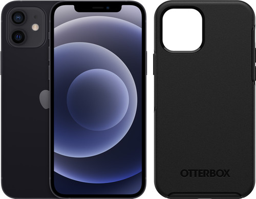 Apple iPhone 12 64GB Zwart + Otterbox Symmetry Back Cover Zwart Main Image
