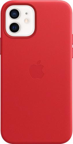 Apple iPhone 12 en 12 Pro Back Cover met MagSafe Leer RED Main Image