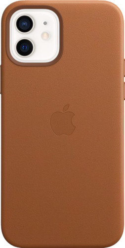 Apple iPhone 12 en 12 Pro Back Cover met MagSafe Leer Zadelbruin Main Image