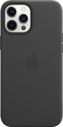 Apple iPhone 12 Pro Max Back Cover met MagSafe Leer Zwart Main Image