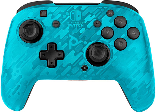 PDP Faceoff Draadloze Nintendo Switch Deluxe Controller Neon Blauw Camo Main Image