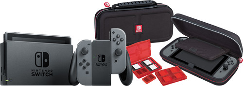 Nintendo Switch (2019 Upgrade) Gray + Bigben Nintendo Switch Travel Case Black Main Image