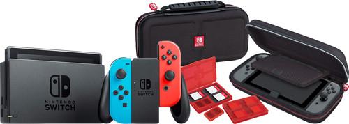 Nintendo Switch (2019 Upgrade) Red/Blue + Bigben Nintendo Switch Travel Case Black Main Image
