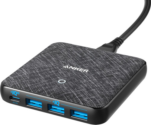 Anker PowerPort Charger without Cable with 4 Usb Ports 45W Power Delivery Black Main Image
