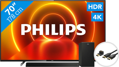 Philips 70PUS7805 - Ambilight + Soundbar + HDMI Cable Main Image