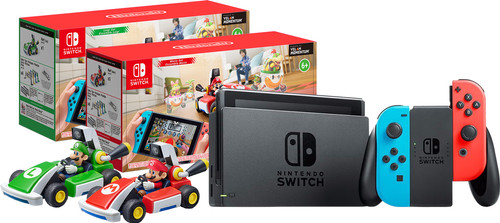 Mario Kart Live pakket - Nintendo Switch (2019 Upgrade) Rood/Blauw + Mario en Luigi set Main Image