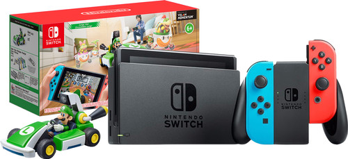 Nintendo Switch (2019 Upgrade) Red/Blue + Mario Kart Live: Home Circuit - Luigi Set Main Image